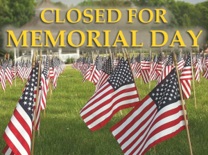 memorial day closed signs
